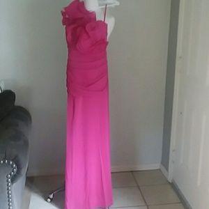 Cinderella formal hot pink one shoulder dress